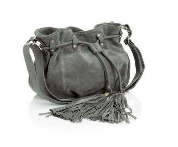 Accessorize Drawstring Renee Grey Suede Cross Body Bag