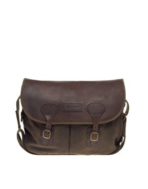 Barbour Waxed Cotton Leather Flap Tarras Bag
