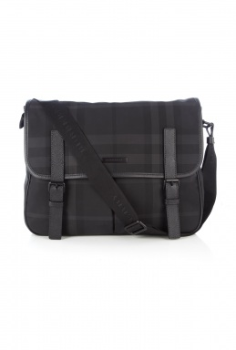 Burberry Charcoal Beat Check Messenger Bag