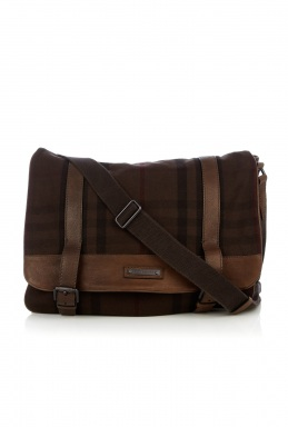 Burberry Chocolate Exploded Check Canvas Messenger Bag