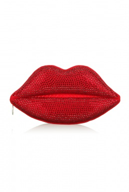 Lulu Guiness Red Swarovski Lips Clutch