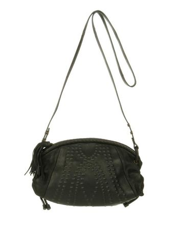 Mimco Leather Tattoo Bubble Cross Body Bag. Leather covered hardware defines