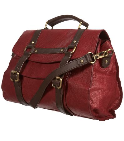 Topshop Burgundy Leather Contrast Buckle Strap Satchel