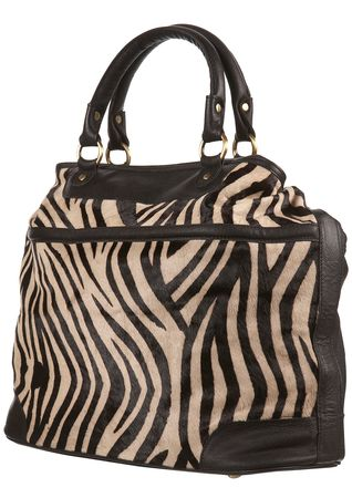 Topshop Large Leather Zebra Print Bag