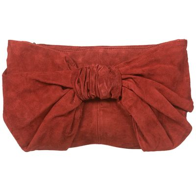 Topshop Terracotta Oversized Bow Suede ClutchBag