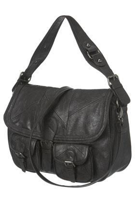 Warehouse Patchwork Double Pocket Satchel Bag