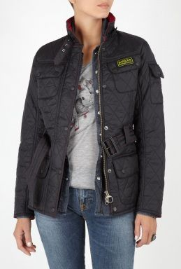 Barbour Black Fuchsia Flyweight International Quilt Jacket