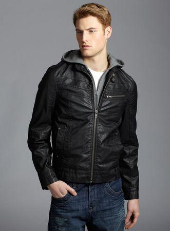 Burton Leather Look Jersey Hooded Jacket