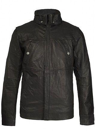 Firetrap Merc Folded Collar Leather Overshirt