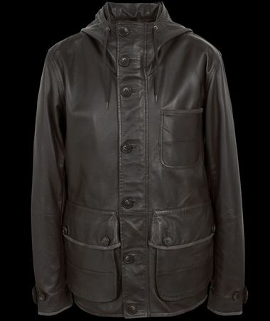 Pretty Green Black 3 Pocket Leather Parka