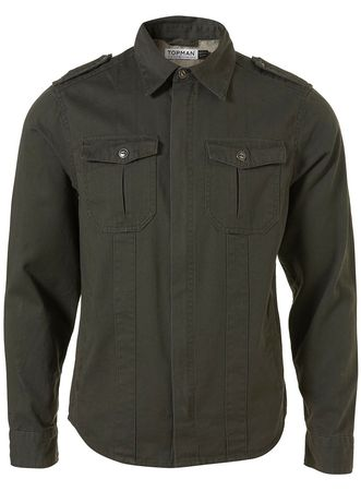 Topman Khaki Military Shacket