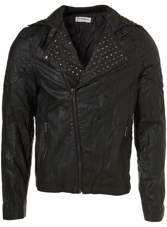 Topman Leather Look Stud Biker Jacket