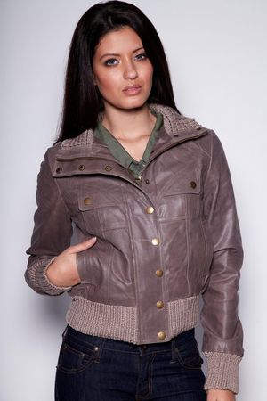 boohoo Brogan Leather Bomber Jacket