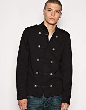 ASOS Military Button Thru Sweat Top