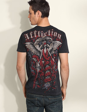 Affliction Headstone Skeleton Back Print T-Shirt