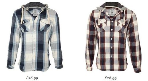Blue Inc Raymond Light Hooded Check Shirts