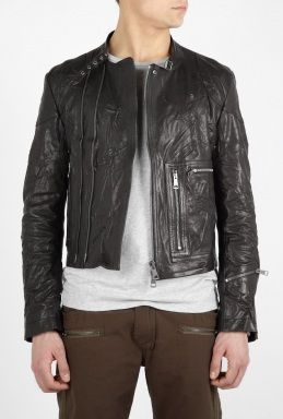 Burberry Black Leather Grainger Biker Jacket