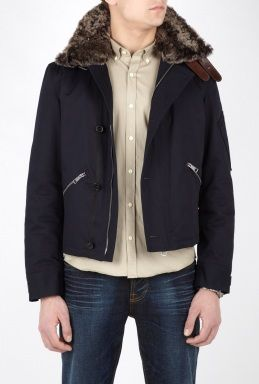 Burberry Navy Canvas Shearling Aviator Coat