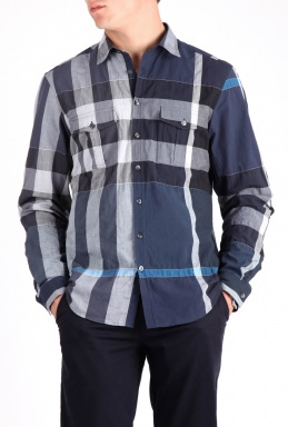 Burberry Navy Large Check Pocket Shirt