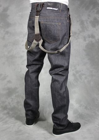 Dr Denim Stanley Dark Grey Thin Braced Jeans