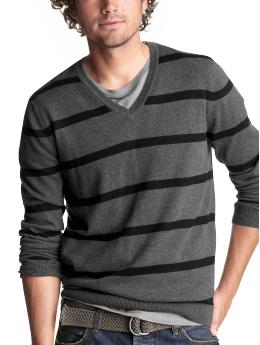 Gap Striped Pima Cotton V-Neck Sweater