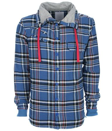 Humor Kaka Funnel Neck Checked Shirt