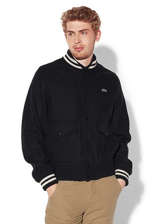 Lacoste Buttoned Jacket With Striped Finish