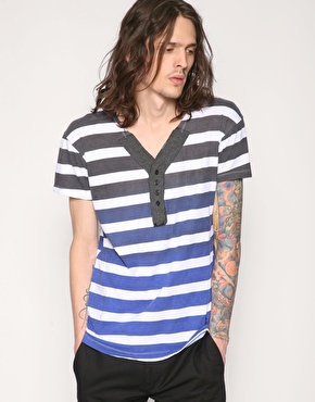 Religion Dip Dye Contrast Stripe Henley T-Shirt
