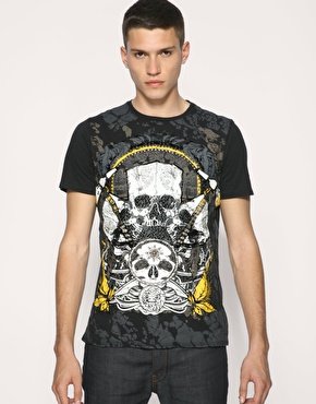 Ringspun War Child Skull Embroidered T-Shirt