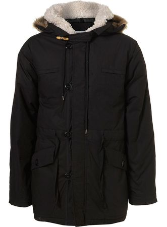Topman Black Wadded Fur Trim Parka