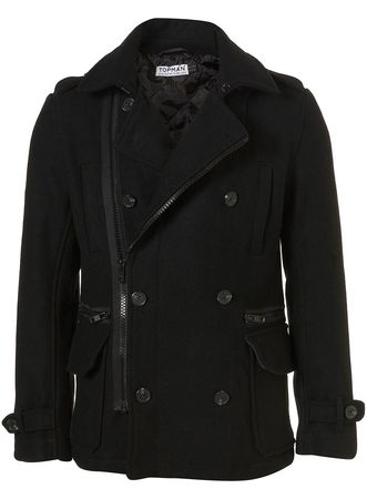 Topman Black Wool Funnel Neck Peacoat