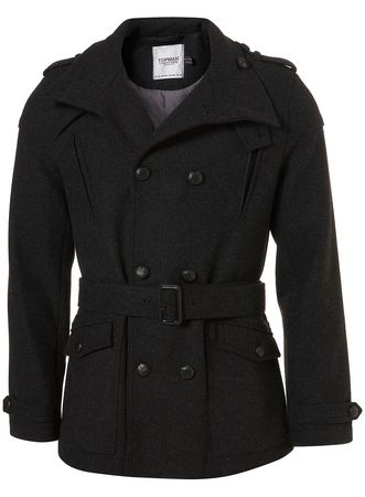 Topman Charcoal Herringbone Peacoat