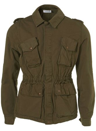 Topman Khaki 4 Pocket Military Jacket