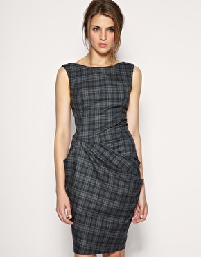 ASOS Tailored Check Pleat Fold Dress