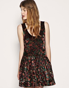Free People Floral Crushed Velvet Dress