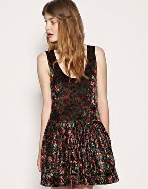 Free People Floral Crushed Velvet Dress . Crushed velvet skater style