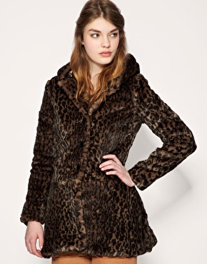 Free People Leopard Print Faux Fur Hooded Coat