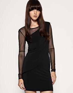 Gestuz Long Sleeve Mesh And Jersey Drape Dress