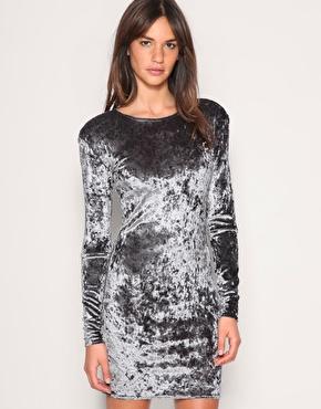 Gestuz Slash Elbow Distressed Velvet Dress