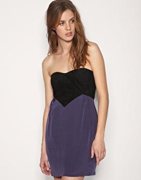 Gestuz Suede Bandeau Silky Skirt Dress