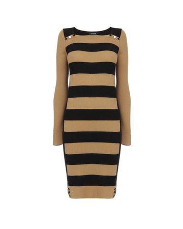 Jaeger Button Stripe Sweater Dress