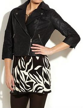 New Look Leather Biker Jacket. Cropped leather biker jacket with zip detail, 3/4 length sleeves and large lapels