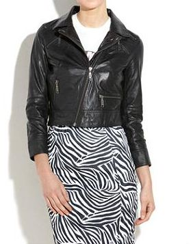 New Look Urban Code Cropped Leather Biker. Cropped leather biker jacket in rock chick black. Asymmetric zip fastening with zip pocket and cuff detail