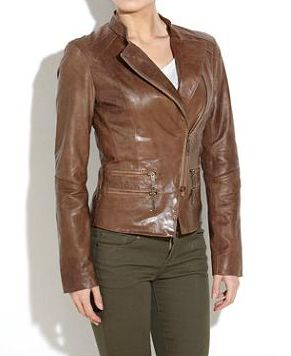 New Look Urban Code Leather Jacket. Brown leather jacket with asymmetric zip fastening. Standing collar and zip pocket detail at the front