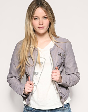Pepe Jeans Collarless Leather Jacket