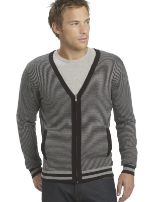 Peter Werth Black Stripe Zip Cardigan