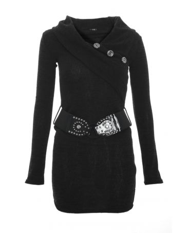 Quiz Black Knitted Belt Button Tunic