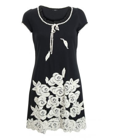 Quiz Black and Cream Lace Flower Tunic