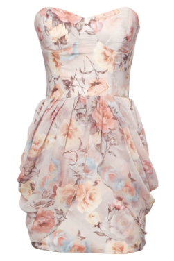Rare Drape Floral Bandeau Dress