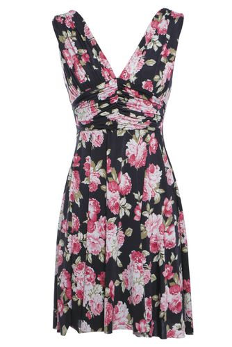 Rare Flower Print V-neck Dress